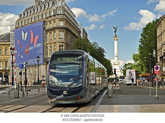 tram car and view of Monument aux Girondins from Place de la Comedie, Bordeaux, Gironde Department, Aquitaine, France