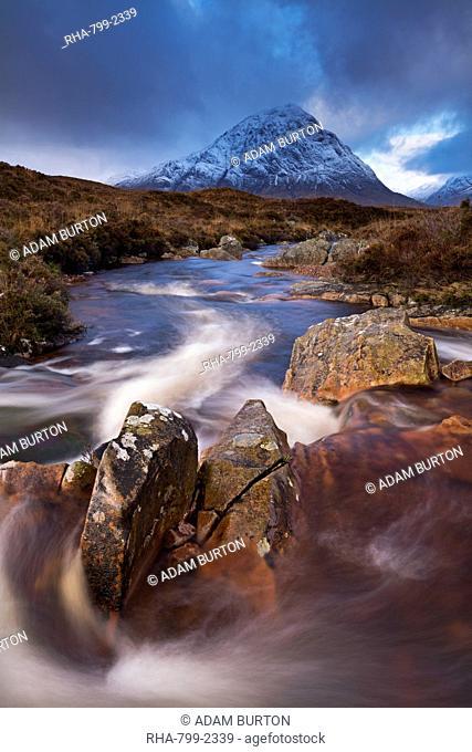 Highland stream running through Rannoch Moor towards Buachaille Etive Mor mountain, Scotland, United Kingdom, Europe