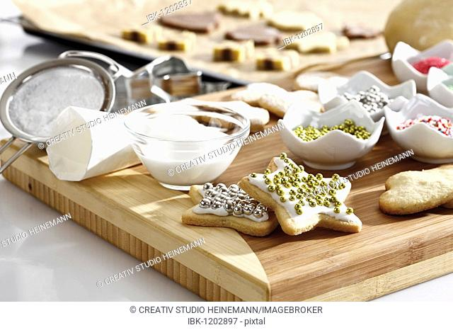 Christmas bakery, baking scene with cookies and baking decoration material
