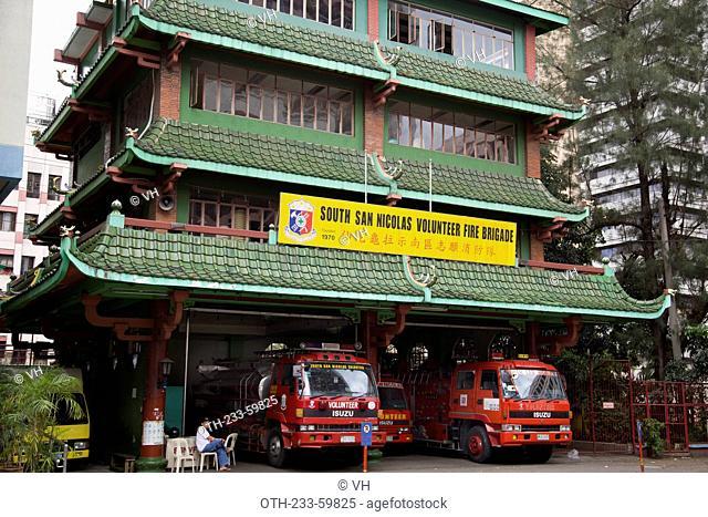 South San Nicoles volunteer fire brigade at Binondo, Manila city, the Philippines