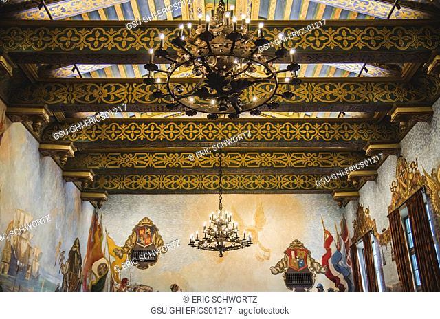 Ornate Ceiling, Santa Barbara County Courthouse, California, USA