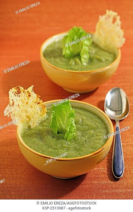 Light soup of lettuce