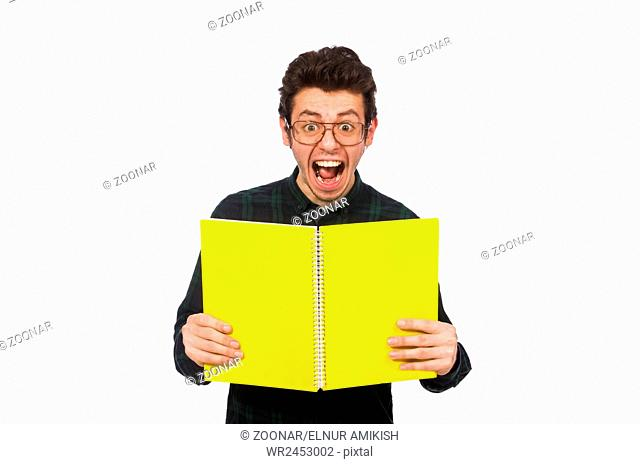 Funny student isolated on the white
