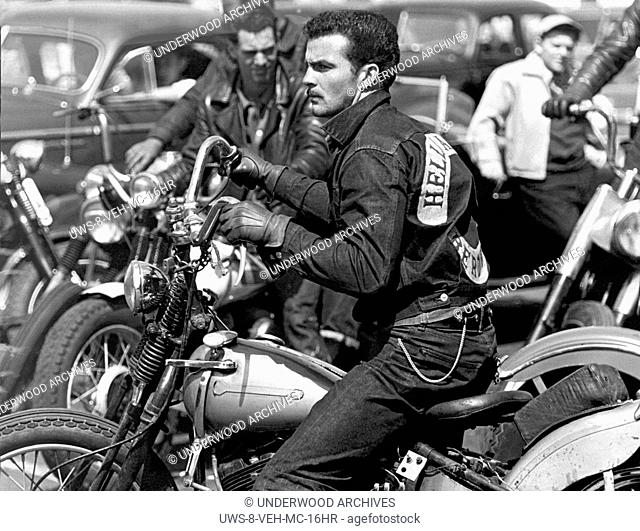 San Francisco, California: c. 1954.A Hells Angel from San Bernadino on his motorcycle at a gathering in San Francisco