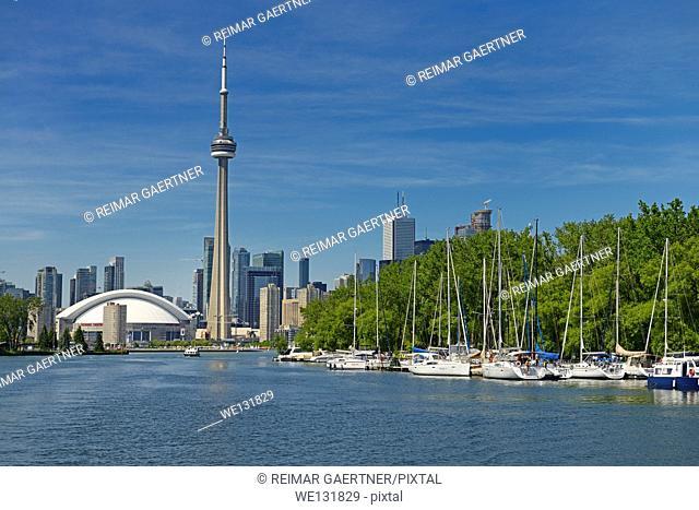 Toronto skyline and Island Yacht Club sailboats from Blockhouse Bay between Hanlan and Muggs Islands