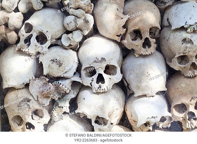Skulls of victims of the Khmer rouge regime at Wat Thmei, Siem Reap, Cambodia