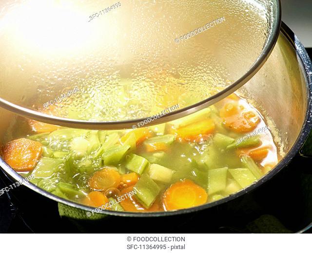 Bean soup in a saucepan