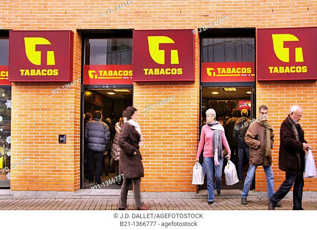 French citizens buying tobacco at Irun, Guipuzcoa, Basque Country, Spain