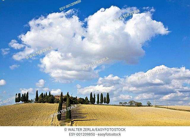 tuscan landscape whit cloud, valle d'Orcia, italy