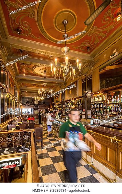 Portugal, Lisbon, district Chiado, restaurant bar Cafe A Brasileira street Garret
