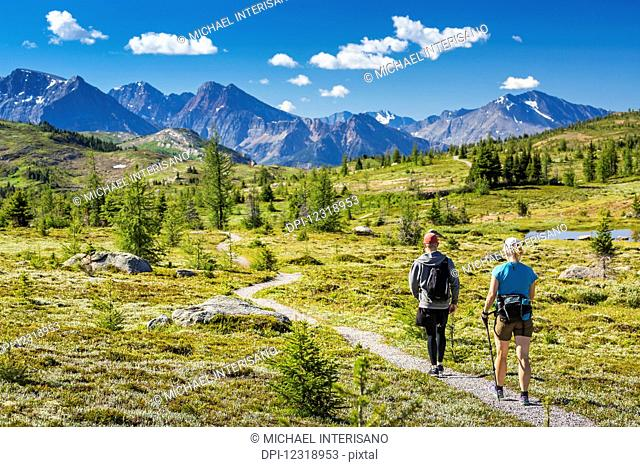 Male and female hiker walking along a meadow trail with mountain range in the distance with blue sky and clouds; Banff, Alberta, Canada