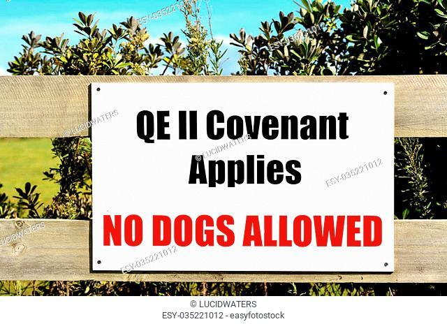 KARIKARI, NZ - MAR 30 2014:Queen Elizabeth II covenant sign.Queen Elizabeth II National Trust enables New Zealand landowners to protect special features on...
