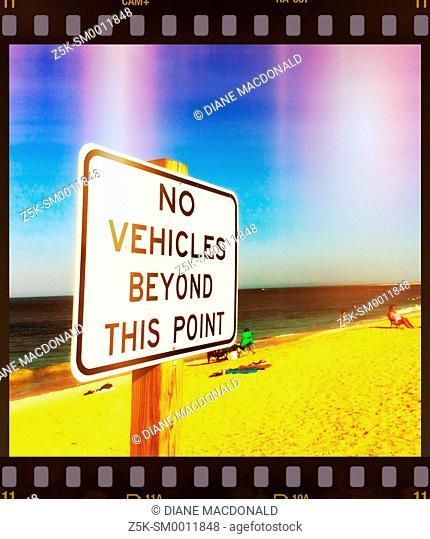 Sign on beach where vehicles are allowed, Vilano Beach, Florida, USA