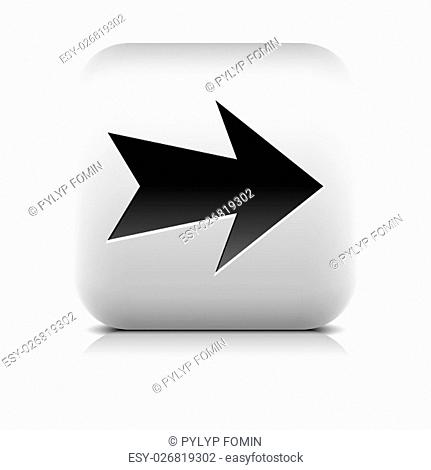 Gray icon with black arrow sign. Rounded square button with shadow, reflection on white background. Series in a stone style