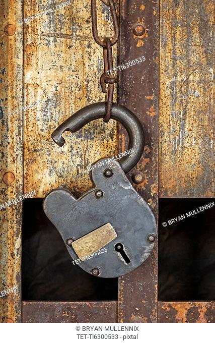 Antique prison cell close-up on padlock