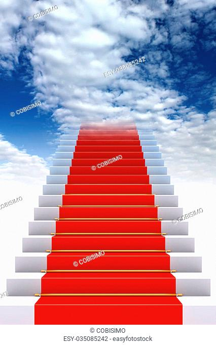 3D rendering of the Red carpet on stairs to heaven