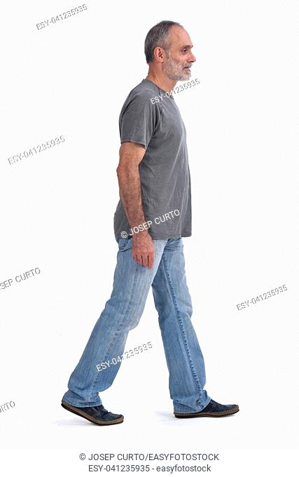 Man walking on white background