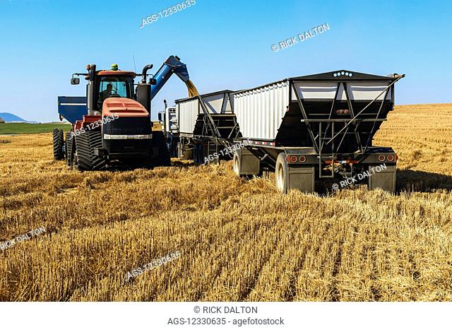 A Tractor And Grain Cart Offloading Harvested Grain Into A Transport Truck; Washington, United States Of America