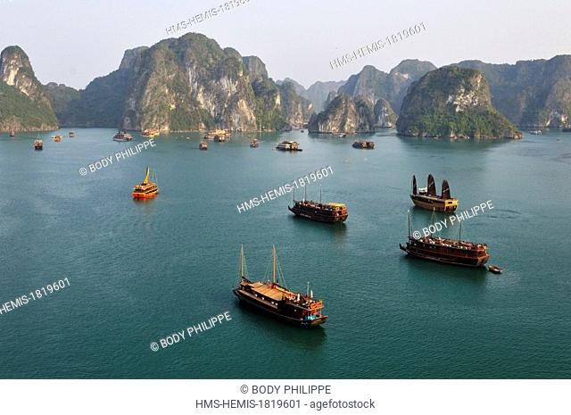 Vietnam, Quang Ninh Province, Halong Bay listed as World Heritage by UNESCO, karstic rocks at Ti Top site (aerial view)