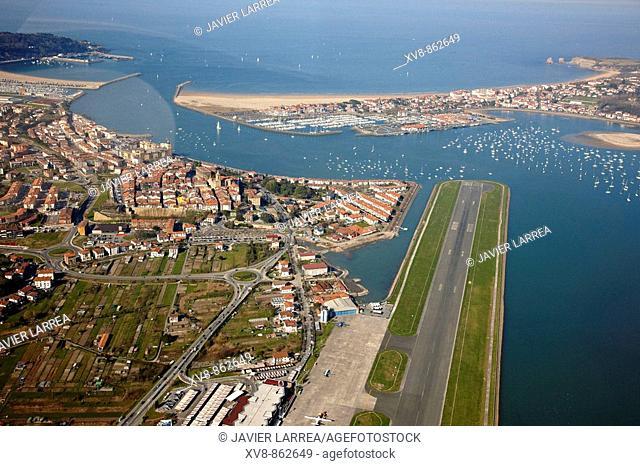 Hondarribia (Spain, left), San Sebastian airport (centre) and Hendaye (France, top right). Bidasoa river mouth, Txingudi Bay