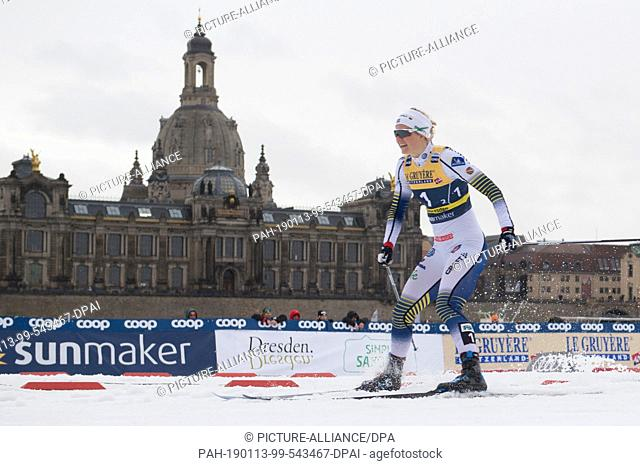 13 January 2019, Saxony, Dresden: Cross Country World Cup, 6 x 1,6 km Team Sprint Freestyle, Final, Women: Maja Dahlqvist from Sweden reacts in front of the...