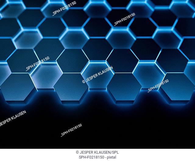 Blue hexagons, illustration