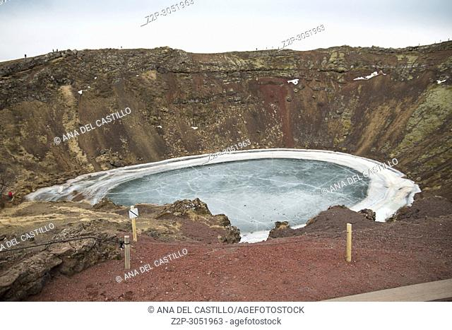 Kerid volcano crater in winter, Iceland