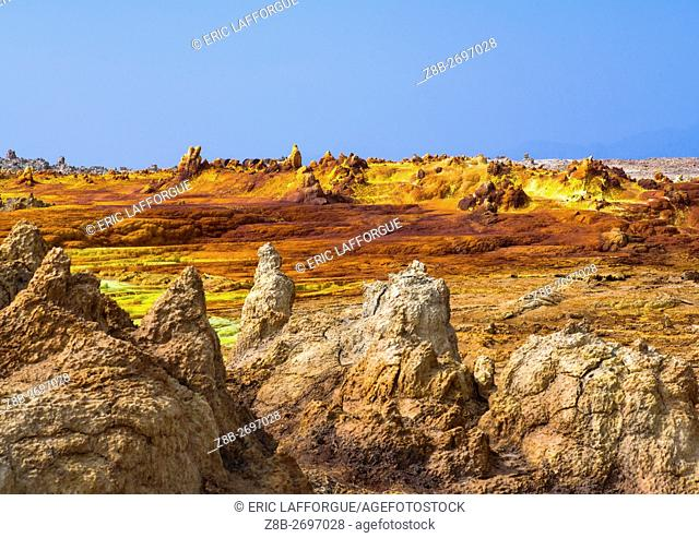 Ethiopia, Afar Region, Dallol, the colorful volcanic landscape of dallol in the danakil depression