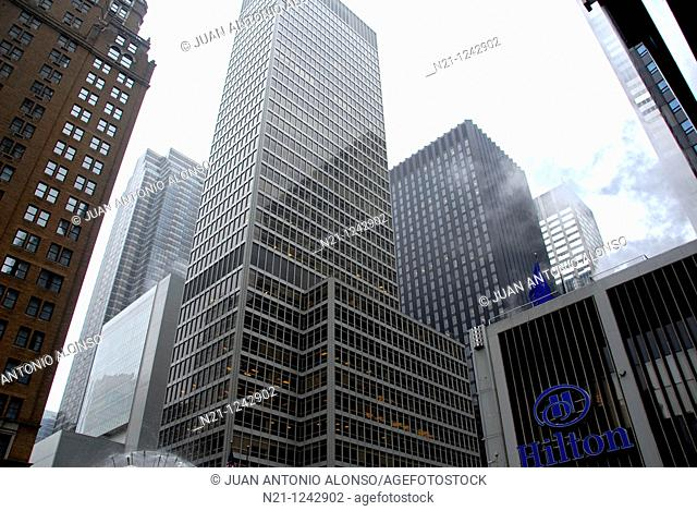 Financial Times Building at 1330 Avenue of the Americas (6th Avenue). Next to it, on 54th Street there is the Museum of Modern Art (MoMA)