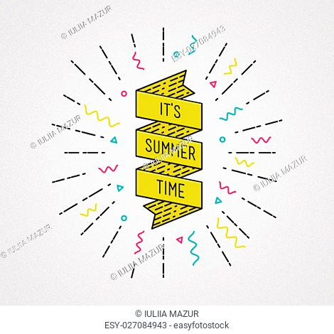 It is summer time. Inspirational illustration, motivational quote typographic poster design in flat style, thin line icons for frame, greeting card