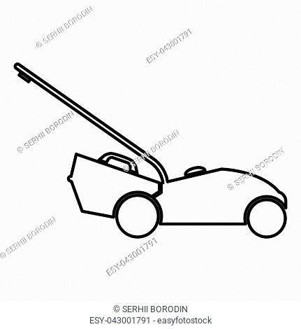 Lawn mower icon black color vector illustration flat style simple image