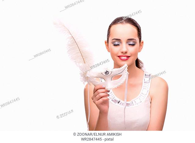 Young woman with carnival mask isolated on white