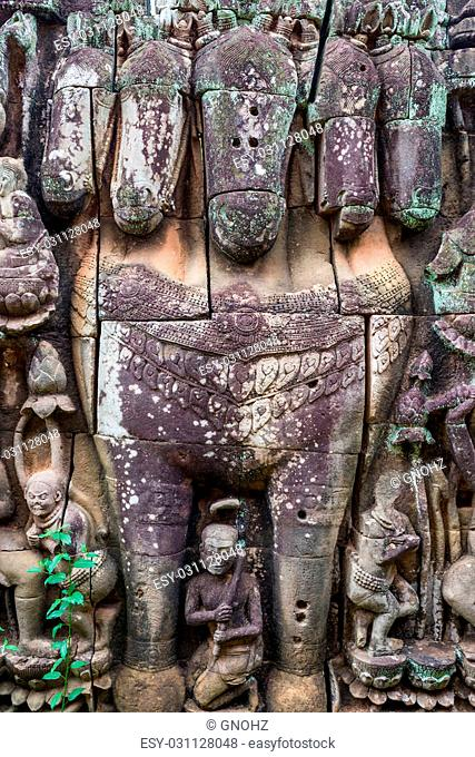 Famous five-headed horse carving at Elephants Terrace and the Leper King Terrace at Angkor Thom