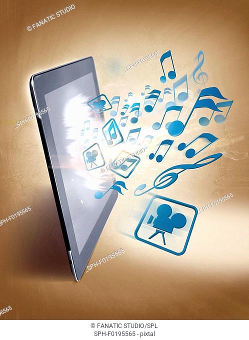 Illustration of uploading and downloading of music