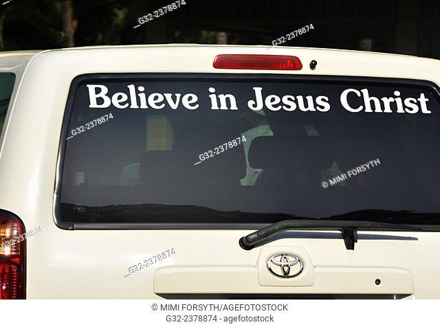 Advertising on car, Hawai'i, USA