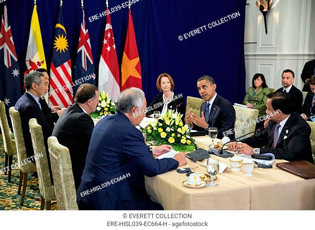 President Barack Obama at the ASEAN Summit at Peace Palace in Phnom Penh, Cambodia, Nov. 20, 2012. Taking part in the meeting, clockwise from the President