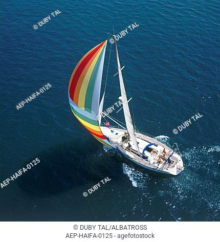 Aerial photograph of a sail boat in the Mediterranean sea