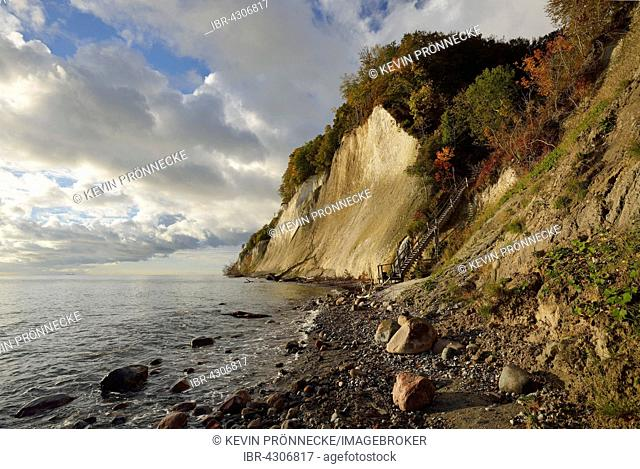 Clouds over sea on chalk cliffs, Jasmund National Park, Baltic Coast, steps at Kieler Bach, Sassnitz, Rügen, Mecklenburg-Western Pomerania