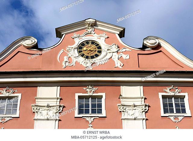 Neuburg, Clock in the Giebel, upper town of Meersburg, Lake of Constance, Baden-Wurttemberg, Germany