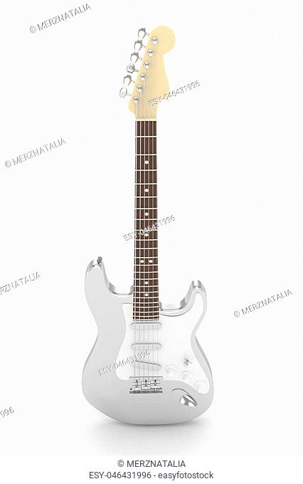 Isolated silver electric guitar on white background. Musical instrument for rock, blues, metal songs. 3D rendering