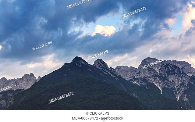Italy, Veneto, Belluno, Dolomites. View of Monti del Sole and Piz de Mezodi as seen from Agordo