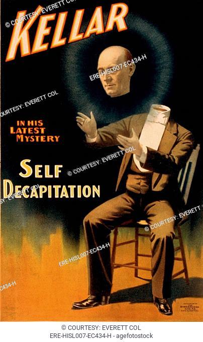 Harry Kellar 1849-1922, American magician performing his self decapitation illusion. 1897