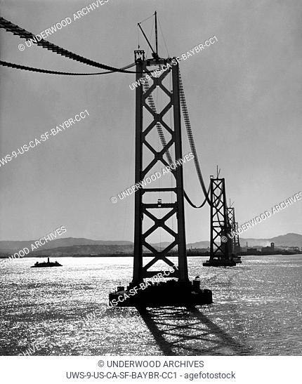 San Francisco, California: October 27, 1935.View from Yerba Buena Island of the San Francisco-Oakland Bay Bridge under construction