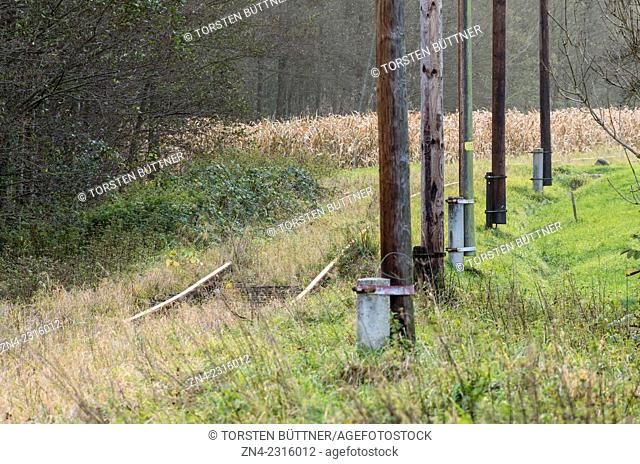 Electrical Power Poles near Hörbach Station of Discontinued Haager Lies Railway Track between Haag am Hausruck and Lambach. Austria