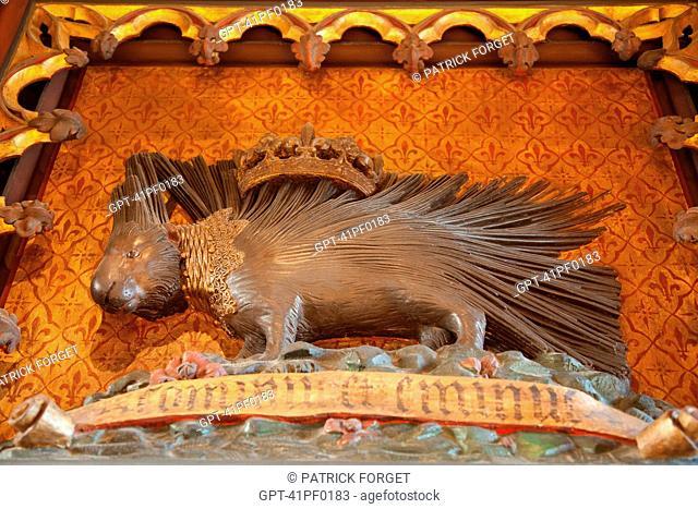 CROWNED PORCUPINE, SYMBOL OF KING LOUIS XII, SALON IN THE CHATEAU DE CHAUMONT-SUR-LOIRE, LOIR-ET-CHER 41, FRANCE