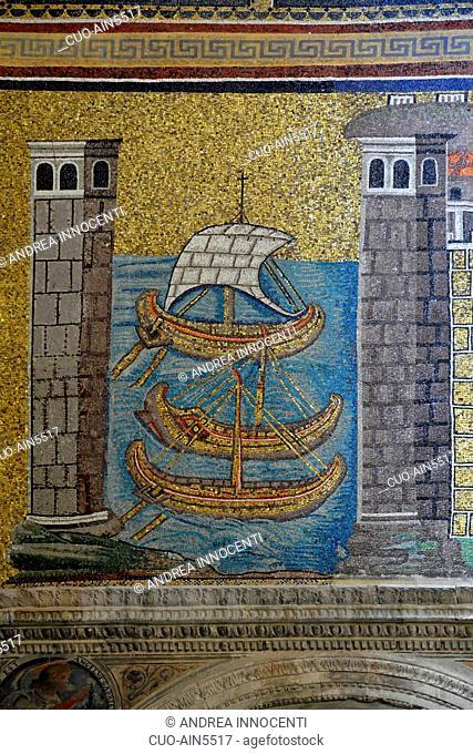 Basilica of Sant' Apollinare Nuovo ,Il Porto di Classe mosaic, Ravenna, Emilia Romagna, Italy, Europe
