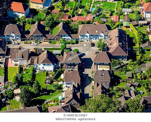 Aerial view, Duisburg-Rheinhausen Margarethe settlement, historic settlement, belonged to Friedrich Alfred Krupp steelworks, Duisburg, Ruhr area