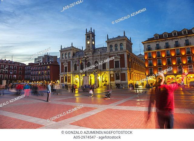 Town Hall at Plaza Mayor Square, Valladolid, Castilla y Leon, Spain