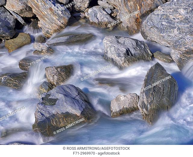 Rapids in Haast river in mountains of Haast Pass, West Coast, New Zealand