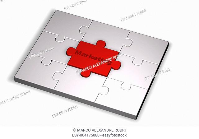Puzzle Marketing in red and grey